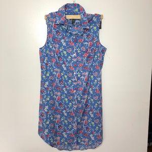 NWOT Ralph Lauren floral blue shirt dress button S